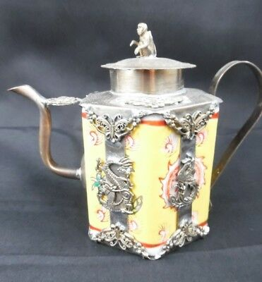 Post 1940 Vintage Chinese Tibet Silver Dragon Old Porcelain Teapot Monkey On Top