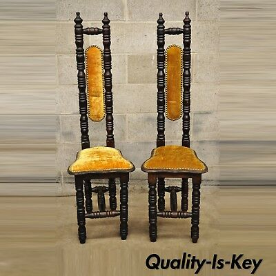 Vintage Spanish Jacobean Hall Prayer Chairs Gold Renaissance Revival Gothic Pair