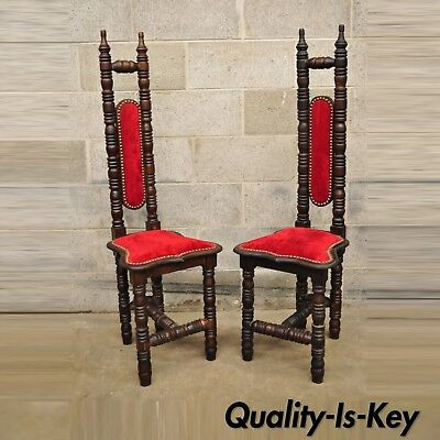 Vintage Spanish Jacobean Hall Prayer Chairs Red Renaissance Revival Gothic Pair