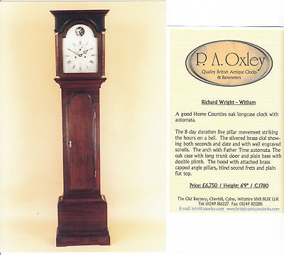Excellent Antique Oak Longcase Clock with Rocking Father Time Automata c.1780