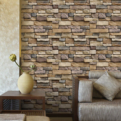 Simulated Rock Brick Wallpaper Self Adhesive For Living Room Bedroom Home Decor
