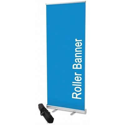 "2 x Aluminum 33""x 79"" Retractable Roll Up Banner Stand Up Trade Show Display"