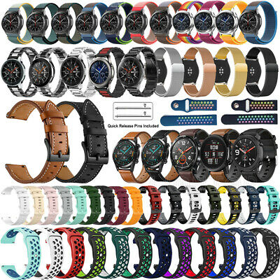 For Samsung Galaxy Watch 42mm 46mm / Active Genuine Leather Stainless Steel Band
