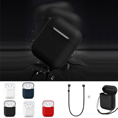 Silicone Case Cover + Earphone Anti Lost Strap Rope For Apple Air Pods Charging.