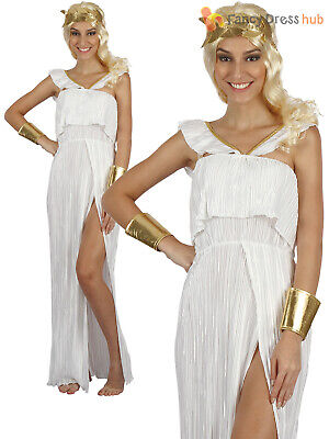 Ladies Greek Goddess Costume Adults Roman Toga Fancy Dress Womens Ancient Outfit