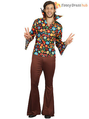 Mens 60s 70s Hippy Costume Adults Hippie Groovy Woodstock Fancy Dress Outfit