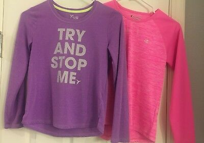 Lot Of 2 Girls Athletic Active Old Navy Champion Long Sleeve Tops Size Large EUC