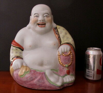 Large Antique Chinese Republic Period Famille Rose Happy Buddha Statue 12""