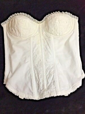 Vintage Bustier SZ 34 Formfit Confidential White Lace strapless USA yellowing