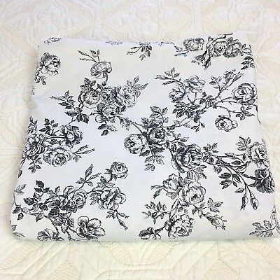 Ralph Lauren Queen Flat Sheet Cottage Hill French Toile Roses Black White Chic