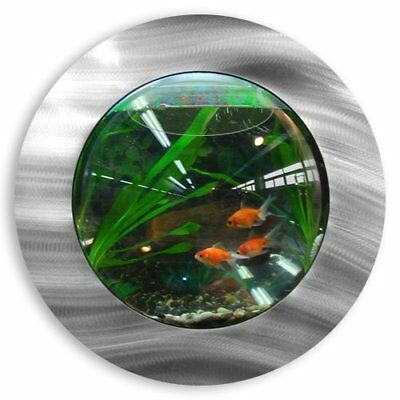 Fish Tank Bubbler Mirrored Brushed Aluminum Wall Mounted 3.6L Water Capacity New