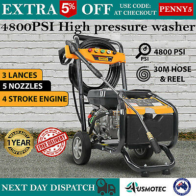 New HIGH PRESSURE WASHER WATER GURNEY CLEANER Petrol 30M Hose Reel Gerni 4800PSI