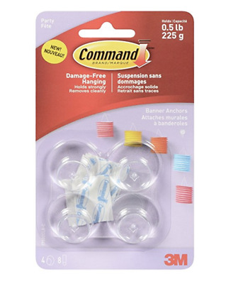 ✅NEW! 3M Command Banner Anchors Damage Free Hanging Holds 0.5lb 225g 4pk