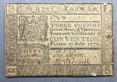 July 17, 1775 - Virginia Colonial Curency Note - 3 Pounds / 60 Shilling - 9957