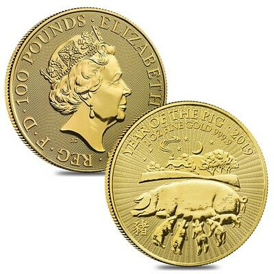 Lot of 2 - 2019 Great Britain 1 oz Gold Year of the Pig Coin .9999 Fine BU