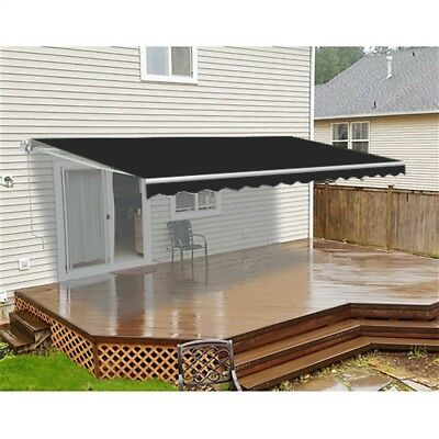 ALEKO Retractable Motorized Home Patio Canopy Awning  16'x10' Black Color