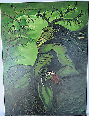 OOAK Painting Canvas Celtic God Mythology Cernunnos Hand-painted Acrylic Signed