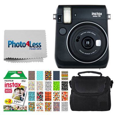 Fujifilm instax mini 70 Instant Film Camera (Black) + Film + Case + Sports Frame