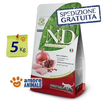Farmina N&D Grain Free Pollo e Melograno 5 Kg ^^ Crocchette per Gatto e Gatti