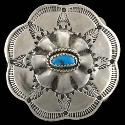 Vtg 70s Sterling Silver 925 Turquoise Native American Indian Concho Belt Buckle