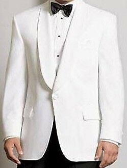 White  Dinner jacket  -LONG sizes  Shawl collar, one button