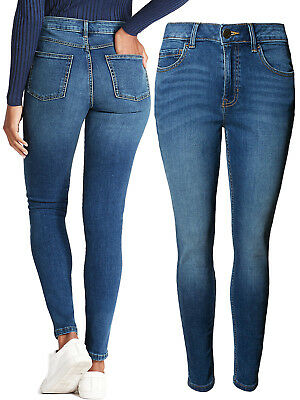 New Women's Ex M&S Skinny Jeans Washed Indigo Mid Rise jegging Plus Size 18-24