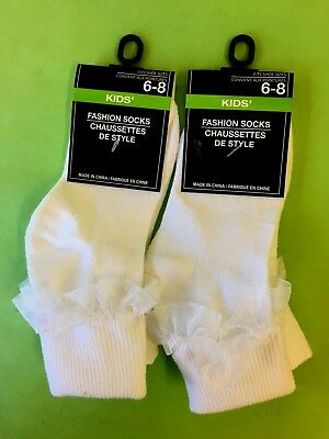 2 Pair - Youth White Bobby Socks with Ruffle - Fits Shoe Sizes 6-8