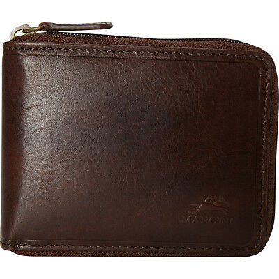 Mancini Leather Goods Men's RFID Secure Zippered Wallet Men's Wallet NEW