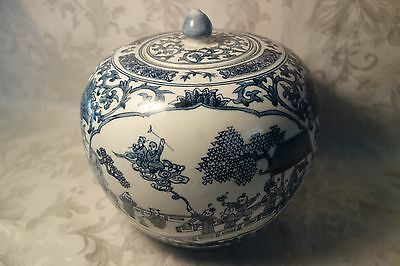 Antique Chinese Lidded Vase Urn Qing Dynasty Marked