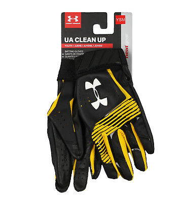 UNDER ARMOUR Youth Clean Up Baseball Batting Gloves sz S Small Black Yellow