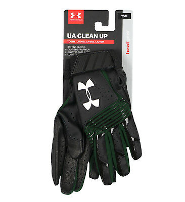 UNDER ARMOUR Youth Clean Up Baseball Batting Gloves sz S Small Black Green