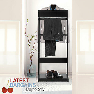 Clothes Valet Stand Garment Mens Suit Shoes Rack Holder Hanger Storage Timber