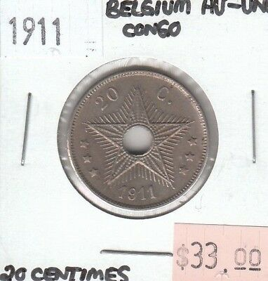 Belgian Congo 20 Centimes 1911 AU Almost Uncirculated