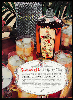 1937 Vintage Print Ad 30's SEAGRAM'S VO shiskey bootle image ice glass