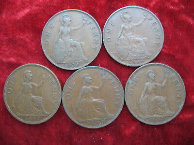Lot of 5 English Large Penny's 1935, 1936, 1937, 1938, 1939! NICE COINS!
