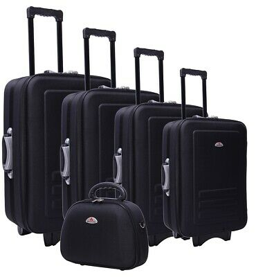 5PCS Travel Luggage Set w/ Beauty Case Trolley Suitcase Built In Padlock Black