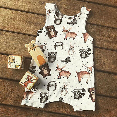 AU Top Baby Kids Boy Girl Infant Romper Jumpsuit Bodysuit Cotton Clothes Outfits