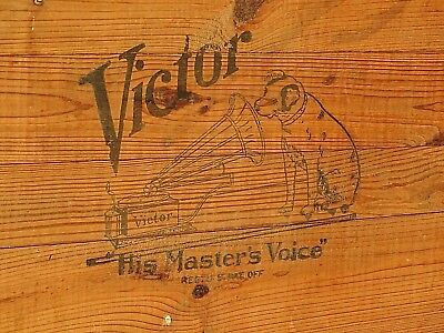 Victorian Victor Victrola Antique Shipping Phonograph Advertising Crate Box