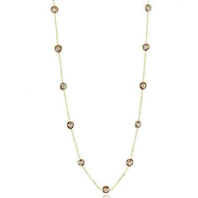 14K Yellow Gold Smoky Topaz Fancy Cut Gemstone Necklace 20 Inches