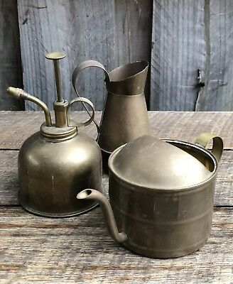 Group Lot X 3 Vintage Mixed Brass Items Sml Teapot, Sml Jug Pourer, Oil Can