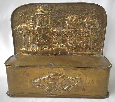 18th Century English/Dutch Brass Repousse Lidded Candle Box, Table/Wall Mounted