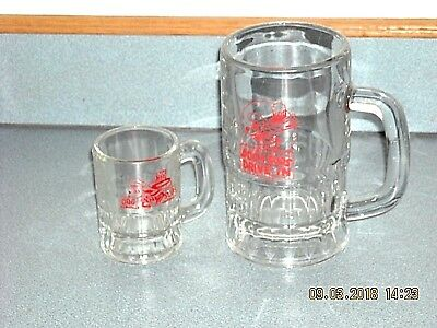 """Vintage Dog N Suds Drive In  6"""" & 3 3/4"""" Glass Mugs"""
