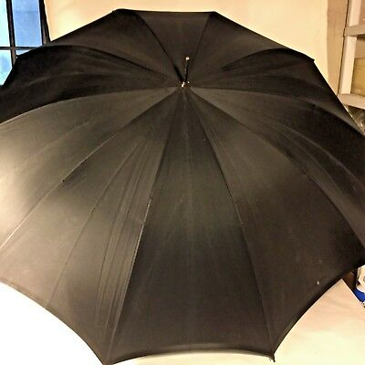 Vtg Black 100% Rayon MOURNING Funeral Umbrella Parasol w Wooden Bamboo Handle