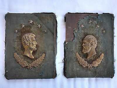19th C. Lincoln & Garfield Bronce Dorada Metal Bas Alivio Placa de Pared,Madera