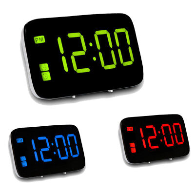 For Home Office Digital LED Alarm Clock Big Screen Snooze Powered Voice Control