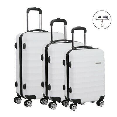 3 Pcs Lightweight Travel Luggage W/ TSA Lock Hard Shell Suitcase Trolley White