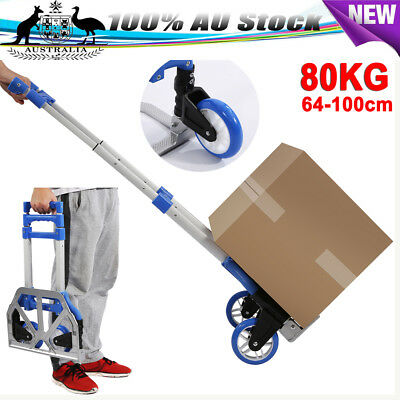 Compact Portable Folding Aluminium Hand Trolley Luggage Truck Wheels Cart 80Kg