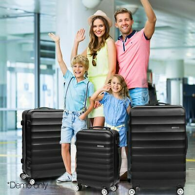 Set of 3 Luggage Suitcase TSA Travel Hard Case Trolley Bag Lightweight Black