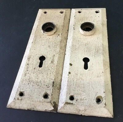 Vtg Door Plate Steel 7 Inches with Skeleton Key Hole  (2)