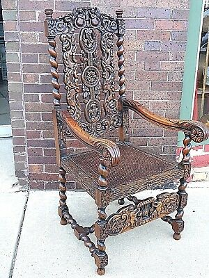William & Mary English Edwardian Victorian Wood carved Angel Throne Chair